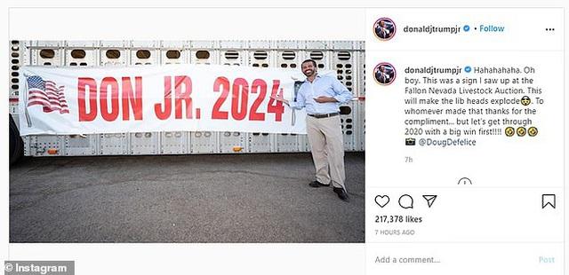 """Con trai ông Trump gây """"bão mạng"""", úp mở khả năng tranh cử tổng thống Mỹ năm 2024 - Ảnh 1"""