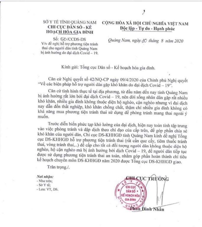 Quảng Nam: Thu hồi công văn xin phương tiện tránh thai cho người dân bị ảnh hưởng vì Covid-19 - Ảnh 2