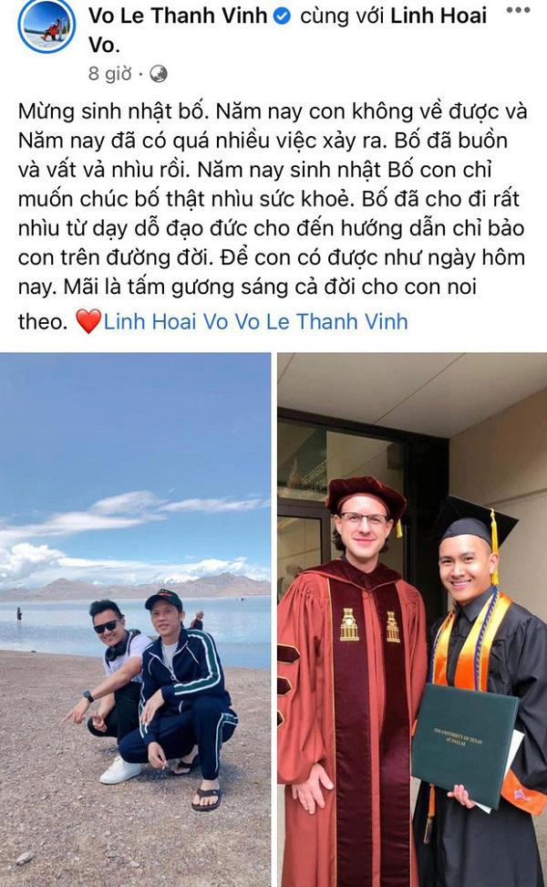 Xúc động lời nhắn gửi mừng sinh nhật bố của con trai NSƯT Hoài Linh - Ảnh 1