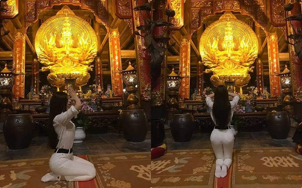 """Sao Việt bị ném đã dữ dội vì ăn mặc """"thiếu vải"""" đi chùa: Minh Tú diện áo quá ngắn, Hoàng Thùy như không có quần - Ảnh 4"""