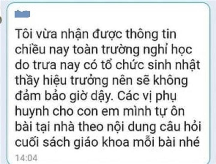 xon xao chuyen hoc sinh duoc nghi 1 buoi vi truong to chuc sinh nhat cho thay hieu truong thay giao len tieng