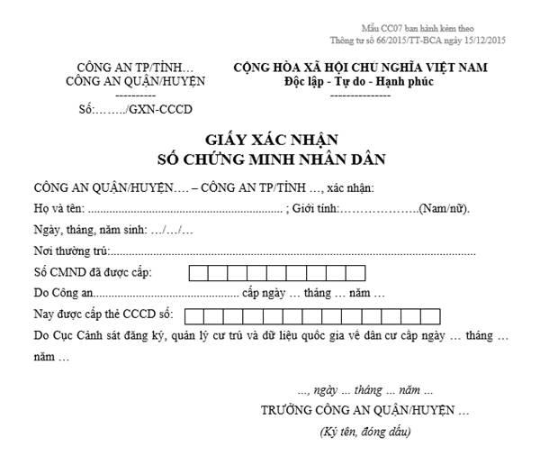 dung the cccd gan chip co can xin xac nhan so cmnd