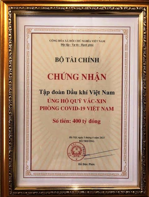 petrovietnam ung ho 400 ty dong
