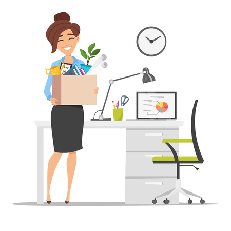79508648 vector flat style illustration of successful smiling business woman holding cardboard box with work