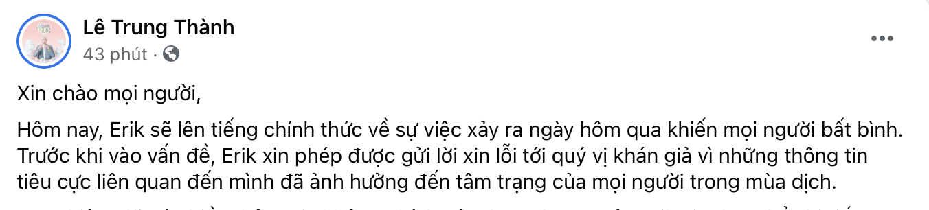 ca si erik chinh thuc phan hoi thong tin di thu am giua mua dich covid 19 2