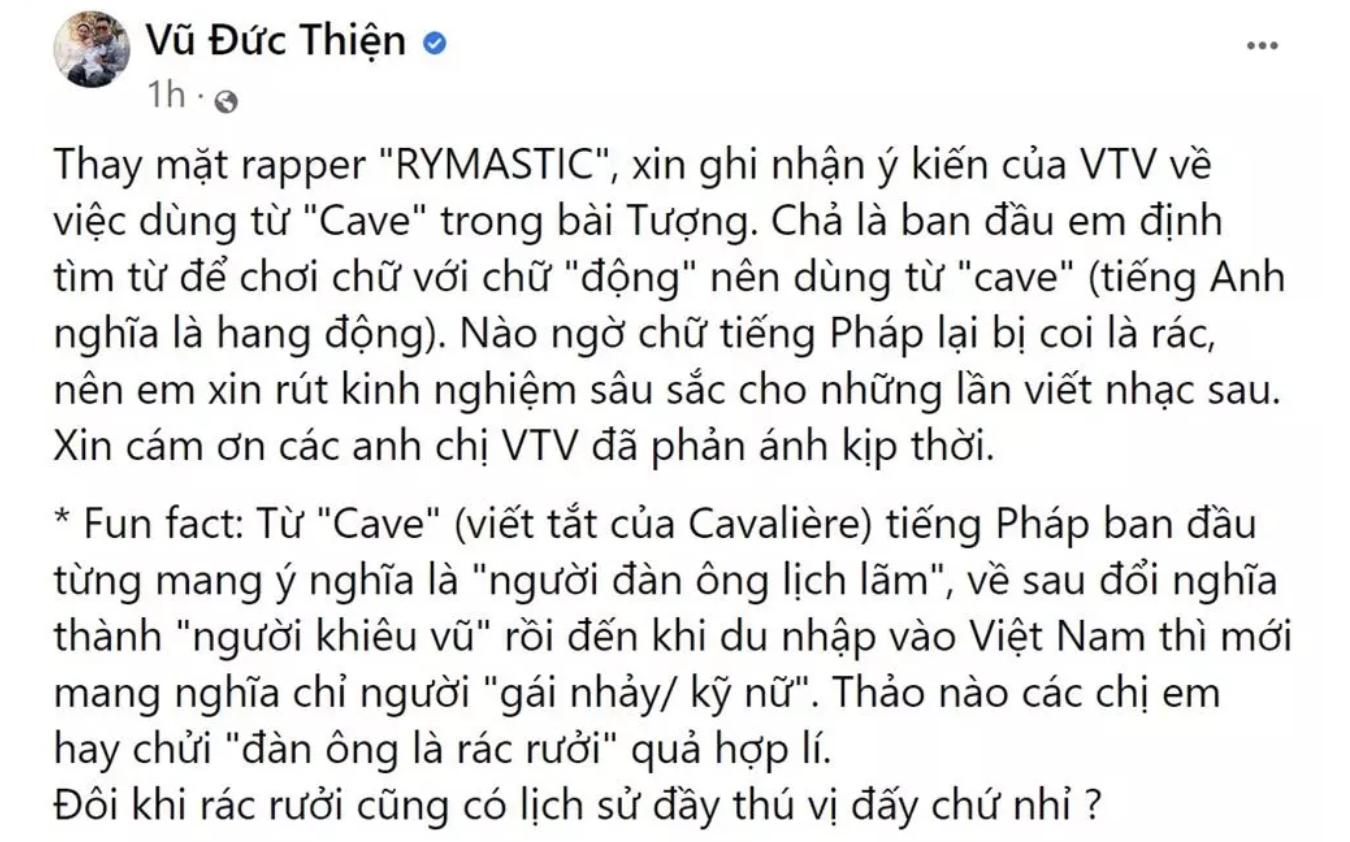 rhymastic len tieng khi bi vtv goi ten trong chuong trinh don rac tren khong gian mang 5