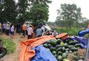 Tin trong nước - Xe tải chở dưa lật nhào trên QL1, người dân thu gom, mua giúp tài xế