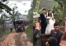 Tin tức - Màn rước dâu bằng xe công nông tại Phú Thọ gây sốt mạng xã hội