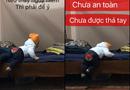 Tin tức - Dân mạng hồi hộp xem clip bố dạy con trai 11 tháng tuổi xuống giường như phim hành động
