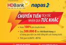 Kinh doanh - HDBank hoàn 100% phí chuyển khoản nhanh 24/7