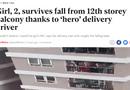 """Tin thế giới - Báo Anh ca ngợi """"người hùng"""" Nguyễn Ngọc Mạnh cứu bé gái rơi từ tầng 12 chung cư ở Hà Nội"""