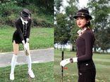 Á hậu Huyền My lại biến sân golf thành sàn catwalk với trang phục lịch lãm, khoe chân dài hút mắt