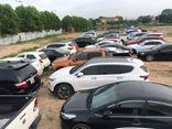 Cận cảnh bãi đỗ gần 100 xe ô tô của nhóm tiêu thụ xe gian ở Hà Nội: Xế sang xếp dài trong khu đất được ngụy trang bí mật