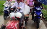 """Màn rước dâu bằng """"xe mui trần"""" siêu độc đáo ở Nghệ An"""