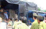 Xe tải chở gỗ lậu ngụy trang bằng vỏ thùng bia
