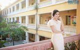 Hoa hậu Ngọc Hân dịu dàng về thăm trường cũ