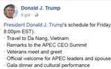 Tổng thống Trump cập nhật lịch trình tại Việt Nam lên Facebook