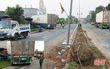 """Xe container """"bay"""" qua dải phân cách, đâm đổ nhà dân ở Hà Tĩnh"""