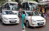 Hà Nội: Trung úy công an đỗ xe giữa đường bị xử phạt