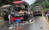 Tuyên Quang: Va chạm với xe tải, xe khách vỡ nát phần đầu, 6 hành khách nhập viện