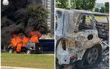 Tin trong nước - Xe sang Mercedes GL450 bốc cháy trơ khung trong khu đô thị ở Hà Nội