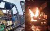 Máy múc gần 1 tỷ đồng cháy rụi rạng sáng 29 Tết, nghi án bị kẻ gian đốt phá