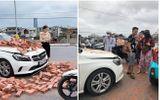 Cộng đồng mạng - Xe xích lô chở gạch đâm trúng Mercedes, nữ tài xế bất lực nhìn đầu xe biến dạng