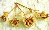 Quà độc Valentine: Choáng với hồng dát vàng 24k giá 3 triệu đồng