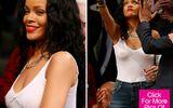 """Rihanna vẫn vô tư đi xem bóng rổ dù """"quên áo ngực"""" ở nhà"""