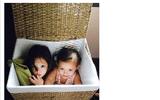 Cặp Tôm – Tép nhà Hồng Nhung tinh nghịch ngồi trong giỏ mây