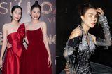 Tin tức giải trí - Nam Anh - Nam Em diện váy đỏ rực đối lập Trà Ngọc Hằng đầm đen huyền bí