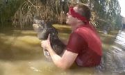 Video: Thử thách mạo hiểm, bịt mắt bắt cá sấu dưới đầm lầy