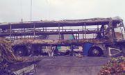 Hiện trường vụ xe khách giường nằm cháy rụi trong đêm ở Sóc Trăng