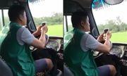 Dùng khuỷu tay lái xe, tài xế xe buýt sẽ bị phạt 700 nghìn đồng