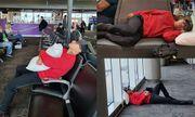 Tuấn Hưng đăng ảnh nằm vạ vật ở sân bay, than khổ khi trót mang