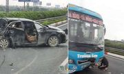 Tin tai nạn giao thông mới nhất ngày 15/3/2020: Ô tô khách tông xe con bẹp dúm trên cao tốc Pháp Vân - Cầu Giẽ