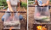 Dùng túi nilon nấu cá cực điệu nghệ, cô gái khiến dân mạng