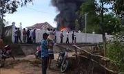 Quảng Ngãi: Cháy lớn tại kho sản xuất mui nệm
