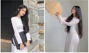 Nữ sinh diện áo dài trắng khoe ba vòng hoàn hảo gây bão mạng xã hội
