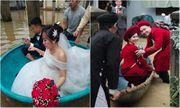 Đám cưới giữa mùa lũ, chú rể bì bõm lội nước đón nàng về dinh