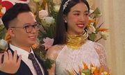Á hậu Thúy An đeo 13 cây vàng kín cổ trong lễ cưới, dân mạng thi nhau vào chia sẻ