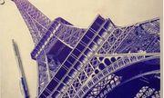 9X xinh đẹp vẽ tháp Eiffel bằng bút bi