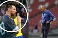 """Bóng đá - Messi ra hiệu """"Im đi"""" với HLV trưởng ĐT Brazil"""