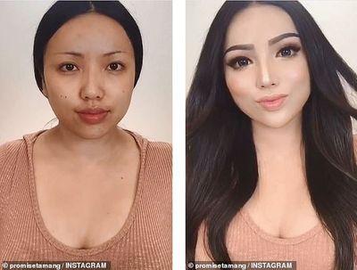 Sống ảo đến tận cùng: Trang điểm mũi cao, mặt V-line không cần phẫu thuật - ảnh 1