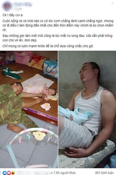 """Chị em nức nở khen vợ """"có số hưởng"""" khi thấy ảnh chồng ngủ gục do quá mệt vì phải thức chăm con nhỏ - ảnh 1"""