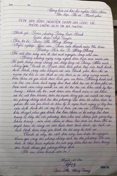 Hải Phòng: Cô giáo tiểu học viết đơn xin trực chốt chống dịch Covid-19 - ảnh 1