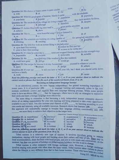 Đáp án đề thi môn tiếng Anh mã đề 401 THPT quốc gia 2019 chuẩn nhất  - ảnh 1