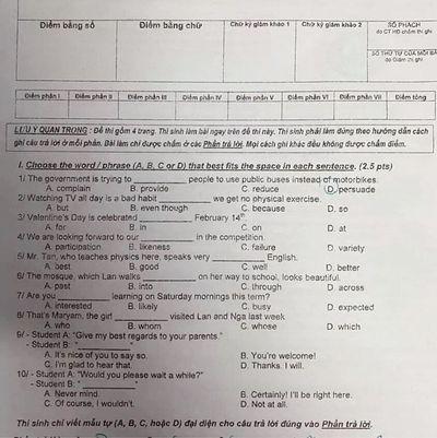 Đề thi môn tiếng Anh vào lớp 10 chuẩn nhất, nhanh nhất - ảnh 1