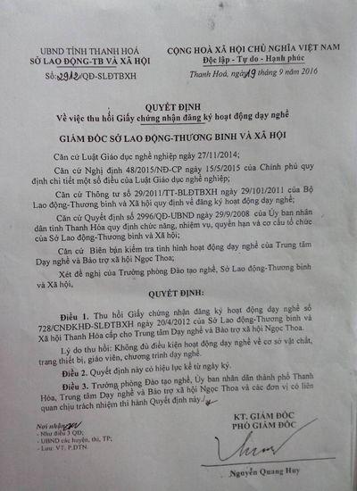 Rút giấy phép Trung tâm Dạy nghề và Bảo trợ xã hội Ngọc Thoa - ảnh 1