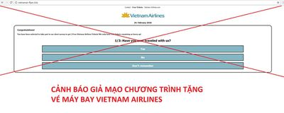Vietnam Airlines khẳng định chương trình tặng 2 vé máy bay là lừa đảo - ảnh 1